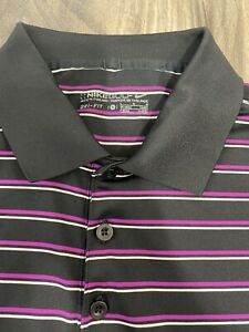 Nike Golf Dri-Fit Men's Short Sleeve Golf Polo Shirt L Blackpurple  Striped