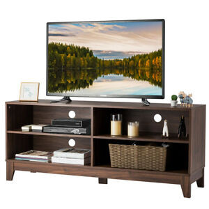 58quot; Modern Wood TV Stand Console Storage Entertainment Media Center Walnut $159.99