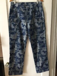 CUSTOM MADE ONE OF A KIND Mens Sz 32 Camouflage Denim Patch Pocket Relaxed Jeans