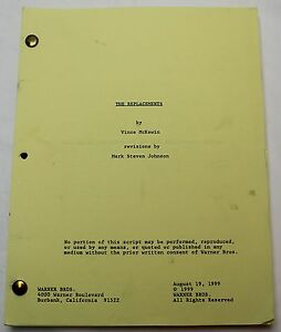 THE REPLACEMENTS  Vince McKewin 1999 Screenplay Keanu Reeves Football Film