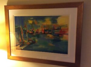 Marcel Mouly Signed Framed Lithograph Port Soleil Couchant