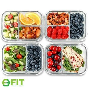 Glass Meal Prep Food Storage Containers 2 amp; 3 Compartments 4 Pack 32 Ounces
