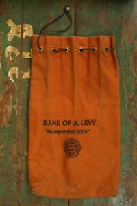 Antique 1920's-1940's Bank of A. Levy Canvas Coin Bank Bag