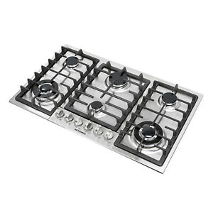 Top 34quot; Stainless Steel Built In 6 Burners Stoves Cooktop NG LPG Gas Hob Cooker $225.99