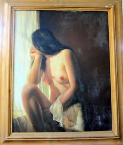 Vintage nude looking out window. Oil on canvas. Signed. Circa 1980
