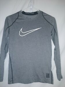 Nike Pro Boys Youth Large LG Fitted Dry-Fit gray Long Sleeve Athletic Shirt Top