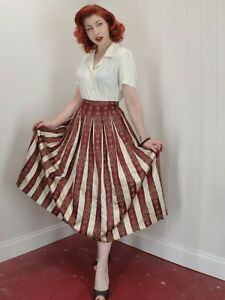 Vintage 1940's Burgundy & Cream Striped Antique Pleated Circle Skirt Pin-Up Era