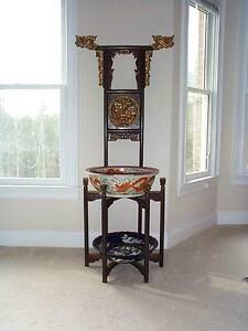 Antique Chinese Wash Basin Stand Hebei Elm Wood Vanity Qilin Robe Rack Dragons