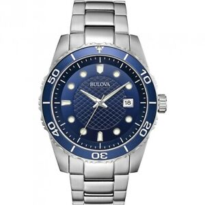 Bulova Men's Quartz Blue Dial Rotating Bezel Calendar 44mm Watch 98A194