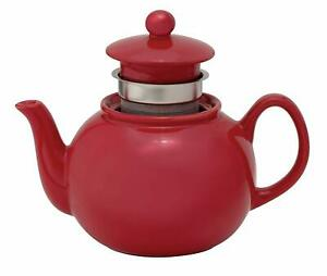Teapot with Stainless Steel Infuser, Ceramic Stoneware, Rose, 6-Cup, 32-Ounce Ca