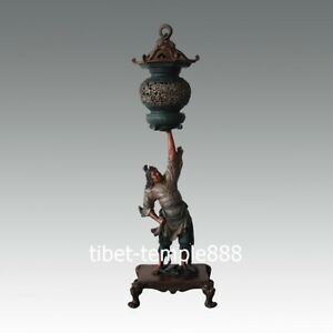 China Bronze Vigorously Celestial God hoist warrior Dragon Incense Burner Censer