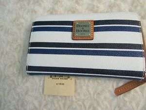 DOONEY BOURKE Wristlet Wallet CANVAS  ZIP Around style stripe NWT tag reg card