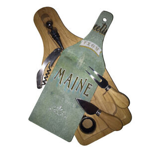 Maine Greetings - Wine Glass Cutting Board Gift Set Wood Box