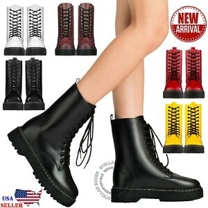 New Women's Lace Up Combat Boots Low Chunky Heel Military High Ankle Boots $26.99