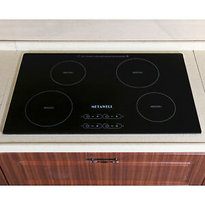 METAWELL 31.5quot; Electric Induction Hob 4 Burner Stove A grade Glass Plate Cooktop
