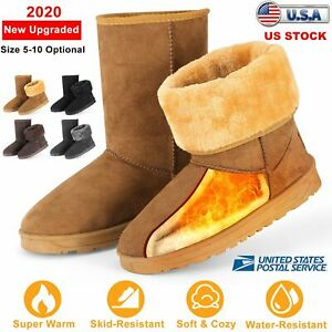 Women's Winter Boots Faux Fur Suede Mid Calf Warm Snow Fashion 5-10 US Size Boot