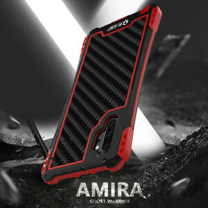For Samsung Note 10 Plus S10 S9 S8 Metal Silicone Carbon Fibre Rugged Armor Case