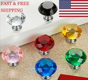 10pc Diamond Shape Crystal Drawer Knob Pull Handle Cabinet Drawer Cupboard Knobs