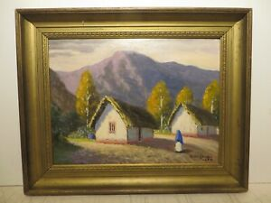 12x16 original 1914 oil painting by Rolla Taylor of