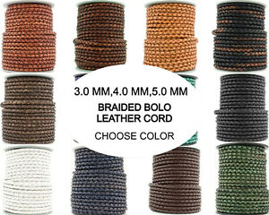 Xsotica® Round Bolo Braided Leather Cord 3mm4mm5mm 1 Yard Choose Color $2.55