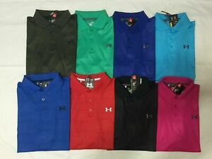 NWT UNDER ARMOUR MENS LOOSE FIT EMBOSSED STRIPES POLO SHIRT S M L XL 2XL $33.99
