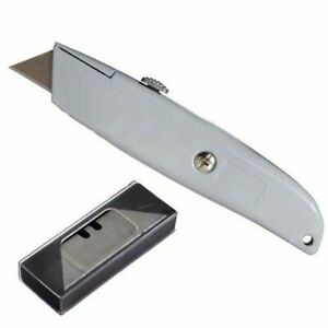 Metal Utility Retractable Cutter Knife Heavy Duty Box Cutter w 10 Razor Blades