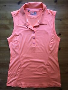 Under Armour S Women's Sleeveless Golf Polo Shirt Bright Coral Orange Heat Gear
