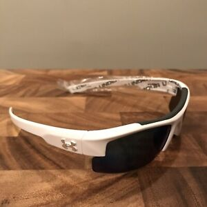 NEW Under Armour NITRO L Sunglasses UA Youth Fit White frame  Blue Mirror lens