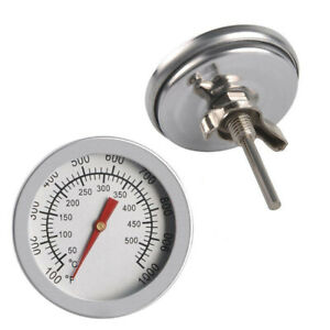 Barbecue BBQ Smoker Grill Thermometer Temperature Gauge 50 500°C Stainless Steel