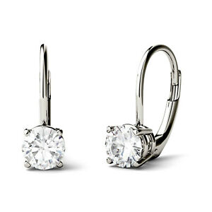 14K White Gold Moissanite by Charles & Colvard Round Leverback Drop Earrings