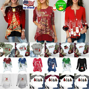 Women Christmas Print T-Shirt Tunic Tops Xmas Casual Short / Long Sleeve Blouse