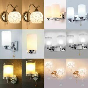 Modern Glass Wall Light Sconce Lighting LED Crystal Lamp Fixture Bedroom Decor