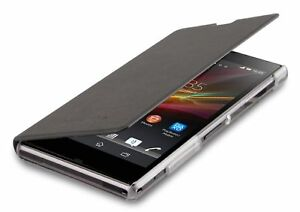 Roxfit Xperia Z1 Flip Book Case with Credit Card Slot - Black