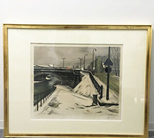 Painting Takanori Susu Lithograph Snow In The Canal Rezone No.57 61175 1 Point