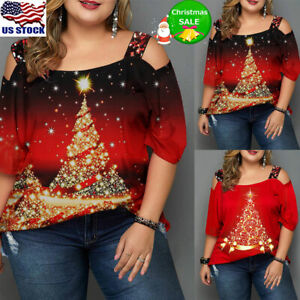 Plus Size Womens Cold Shoulder Christmas Tree T-Shirt Tops Xmas Blouse Pullover