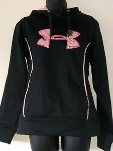 Women's UNDER ARMOUR COLD GEAR STORM Pullover Hoodie Camo Black Pink - SMALL
