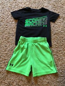 18 MONTHS UNDER ARMOUR BOYS TODDLER GREEN BLACK SHIRT SHORT OUTFIT SET MONTHS