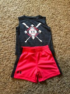 18 MONTH UNDER ARMOUR RED GREY BLACK BOY TODDLER SHIRT SHORT OUTFIT SET MONTHS
