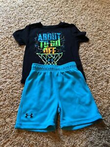 18 MONTH UNDER ARMOUR BOYS TODDLER BLUE BLACK SHIRT SHORT OUTFIT SET MONTHS