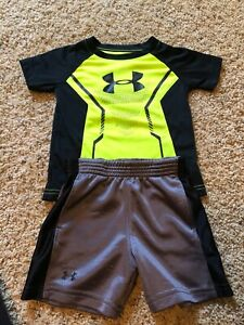 18 MONTH UNDER ARMOUR BOYS TODDLER BLACK YELLOW DHIRT SHORT OUTFIT SET MONTHS