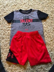 18 MONTH UNDER ARMOUR BOYS TODDLER RED BLACK GREY SHIRT SHORT OUTFIT SET MONTHS