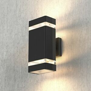 12W LED Up & Down Light Square, AC100- 277V - Bronze Double Sconce Outdoor Lamp