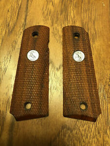 Vintage Colt 1911 Factory Wood Grips SILVER Medallion GREAT CONDITION