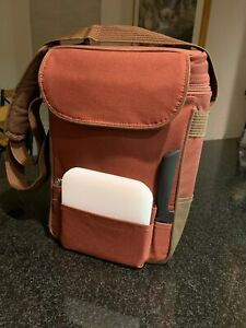 Picnic Time Dual Insulated Wine & Cheese Picnic Lunch Bag Cooler Tote Rust/Brown