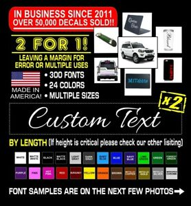 2x Custom Vinyl Decal Sticker Lettering Personalized Business Text Laptop Car #4