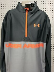 Boys Kids Youth UNDER ARMOUR Long Sleeve 1 4 Zip Pullover NEW gray orange Small $17.27