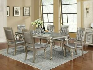 Modern Glam 7 Piece Dining Room Set Table with Extension Leaf Metallic Platinum