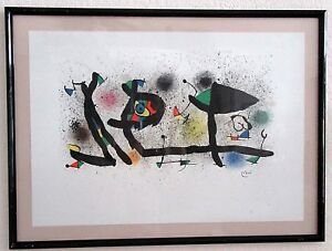 '74 JOAN MIRO Sculptures III Galerie Maeght Abstract LITHOGRAPH Vintage Framed