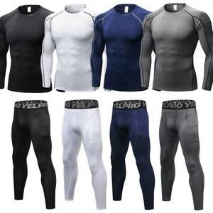 Mens Compression Thermal Base Layer Shirt Tops Pants Leggings Long Gym Quick Dry $16.99