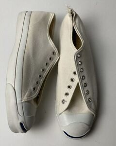 VTG Original Converse JACK PURCELL Canvas Cream Shoes Rare 10 12 Made In USA